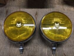 Marchal Yellow 900 Round Headlights - Vintage Pair