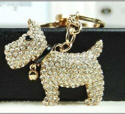 All RHINESTONE SCOTTIE DOG KEY RING  KEY CHAIN (Scottish Terrier) -NEW
