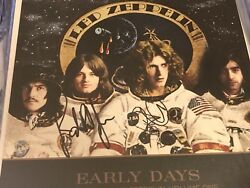Led Zeppelin Early Days Hits Lp Flat Signed By Plant And Jones In Person