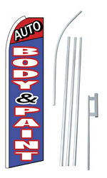 Complete 15and039 Auto Body And Paint Kit Swooper Feather Flutter Banner Sign Flag