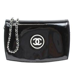 Auth CHANEL Makeup Plat in Chain Wallet Women Patent leatherxPatent leather ...