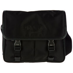 PRADA MEN'S NYLON CROSS-BODY MESSENGER SHOULDER BAG BLACK 4AE