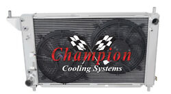 4 Row Kool Champion Radiator W/ 2 12 Fans For 1996 Ford Mustang V8 Engine