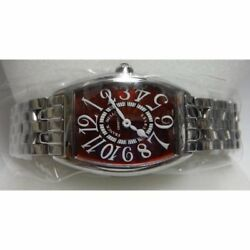 Used authentic FRANCK MULLER Tonneau Curvex Red silver Carpet 1752 QZ Mens Watch