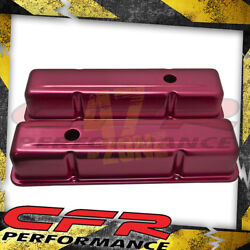 Aluminum Stamped Tall Valve Covers Chevy Sb 283-350 - Anodized Red