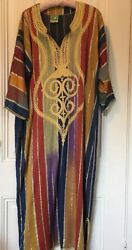 Vintage 70's Egyptian Striped & Embroidered Kaftan- Costume Or Lounging! - L