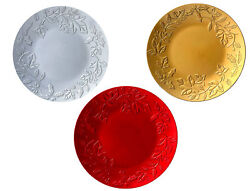 Christmas Charger Plates Red Silver Gold Holly And Ivy X10 X6 X4 X1 Plastic 33cm