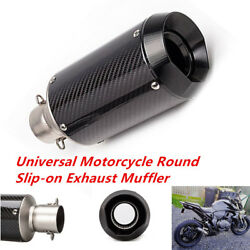 Universal 38-51mm Carbon Fiber Exhaust Muffler Pipe w DB Killer For Motorcycles