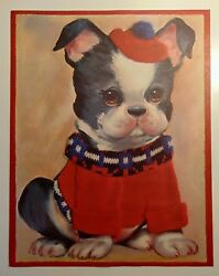 Vintage Art Print Picture Boston Terrier Puppy Dog in Sweater & Cap 11