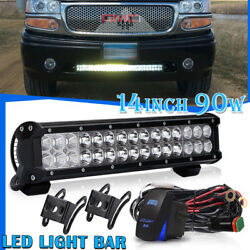 DUAL-ROW 14INCH 90W LED LIGHT BAR SPOT FLOOD COMBO FOR OFFROAD TRUCK HUMMER 12