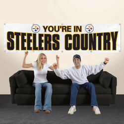 Pittsburgh Steelers 8' X 2' You're In Steele Country Banner 8 Foot Hw White
