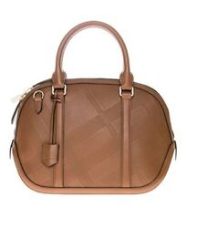 Burberry Women's Small Soft Check Orchard Bowling Tan Leather Satchel