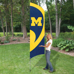 Michigan Wolverines 8.5 Foot Tall Team Flag 11.5and039 Pole Sign Applique Embroidered