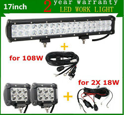 17inch 108w Led Light Bar Driving Rzr 4wd Suv Offroad+4inch 18w Pods+ Wires