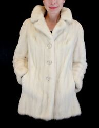 Small/medium Light Beige Mink Fur Jacket With Cute Floral Buttons W/storage Bag