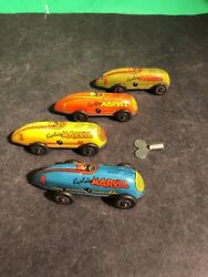 Set Of 4 Captain Marvel Tin Wind Up Race Cars All Work Very Nice Condition