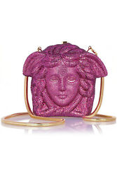 VERSACE Medusa pink magenta crystal-embellished shoulder bag clutch