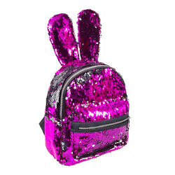 Rabbit Backpack Girls Two Way Sequin Ears Pink Silver Backpack Gift GBP 13.46