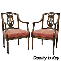 Pair Of Antique Louis Xvi French Style Lyre Back Chairs Italian Armchairs