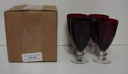 Duncan Miller Ruby Red Juice Glass Single Band Set/ Four Mint In Box More Avail