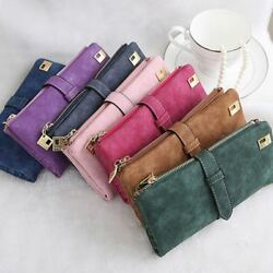 Womens Ladies Suede Leather Clutch Wallet Long Card Holder Case Purse Handbag US $7.99