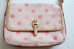 DOONEY & BOURKE Womens PINK CANVAS LOGO EAST  WEST FLAP PURSE BAG NWT  $225