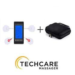 Techcare Massager Tens Unit 12 Modes Muscle Stimulator Machine With Travel Case
