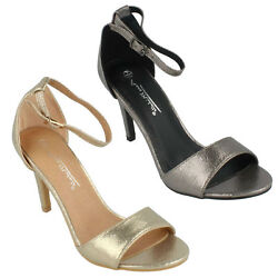 ANNE MICHELLE LADIES OPEN TOE HIGH HEEL GOLD PEWTER EVENING SANDALS F6R030 $29.91