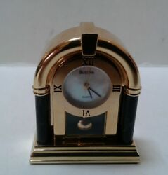 Bulova Miniature Ophilia Brass Collectible Clock B0582 Vintage