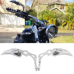 Curiser Bobber Motorcycles Flame Side Mirrors 810mm For Kawasaki Vulcan Classic