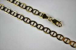 10k Solid Yellow Gold Mariner Link Chain Necklace For Men Women 6.5mm 18 30