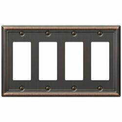 Four GFCI Decora Rocker Wall Switch Plate Outlet Cover - Oil Rubbed Bronze