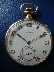 14k Solid Gold Longines Antique Pocket Watch 1917 Running Mappin And Webb Movement