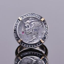 Hand Engraved Hobo Coin Ring With Diamonds And Ruby In 14k Yg And Silver
