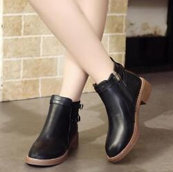 Ladies Work Booties Ankle Shoes Round Head Thick Rear Zipper Ankle Winter Boots