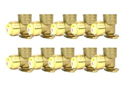 1/2 Sharkbite Style Push-fit Brass Drop Ear Elbow, Pack Of 10 Connect Fitting