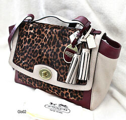NWT COACH Leather Colorblock OCELOT LEOPARD HAIRCALF Carryall Shoulder Bag $1000