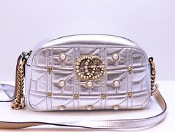 AUTH GUCCI SILVER METALLIC MARMONT MATELASSE PEARL  LEATHER TOTE SHOULDER BAG