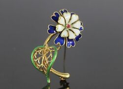 Vintage Uno A Erre 18K Yellow Gold Round Ruby Color Enamel Flower Pin Brooch
