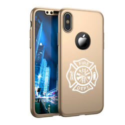 For Iphone X Xs Max Xr 360anddeg Thin Case +screen Protector Fire Dept Maltese Cross