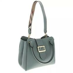 Burberry Medium Buckle Leather Tote Eucalyptus green pocketbook bag