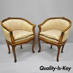 Pair Of French Louis Xv Style Carved Walnut Barrel Back Boudoir Chairs