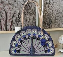 NWT New Kate Spade Straw Peacock Full Plume Shoulder Bag Beach travel! RARE