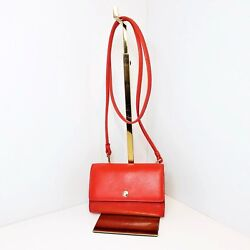 Coach Phone Crossbody Purse Red Watermelon Smooth Leather Small 63154