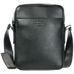 PRADA MEN'S LEATHER CROSS-BODY MESSENGER SHOULDER BAG BLACK C60