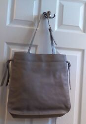 NEW Nordstrom Brand Leather Purse Bag Tote GREY TAUPE PEBBLED LEATHER FINN HOBO