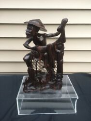 Antique Chinese Carved Indonesia Agarwood Chenxiang Wood Statue Of A Fisherman