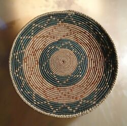 Large Arizona Coiled Basketry Tray, 13 Hand-woven Basket