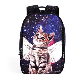 Galaxy Cat Printed School Backpack Lightweight Shoulder Bag for Teen Boy Girls