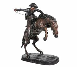 Bronze Statues Cowboy riding Stallion